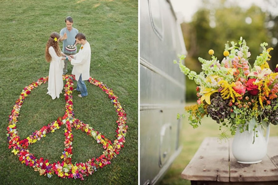 Symbolic Wedding Ceremony In Hippie Style Greece On Crete