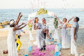 Symbolic  ceremony, A wedding by the sea on the island of Crete