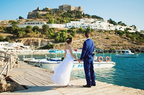 Symbolic  ceremony, A wedding by the sea on the island of Rhodes