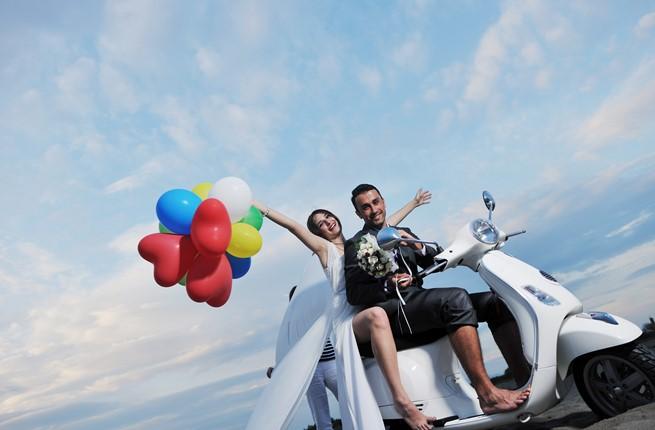 A joyful youth wedding at the seaside