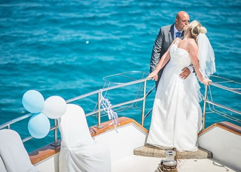 A wedding on a yacht on the island of Mykonos