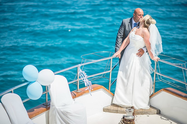 A wedding on a yacht on the island of Mykonos, Mykonos