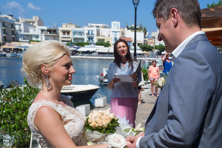 A civil wedding ceremony in Agios Nikolaos, Crete