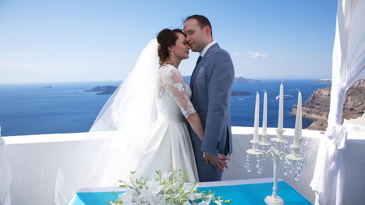 Civil wedding on Santorini Island