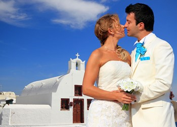 A church wedding on Santorini