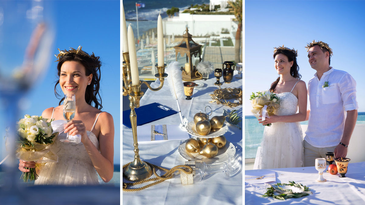 Touch to the ancient greece in athens symbolic wedding ceremony in an ancient greek style in greece in the city of athens buycottarizona