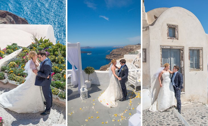 Wedding ceremony of Iordan and Elitsa on Santorini at Villa Irini