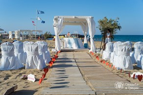 Crete, Symbolic  ceremony, Beach with a White tent