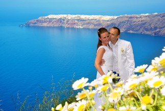 Irina's and Alexander's civil wedding ceremony on Santorini