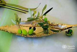 Символическая церемония Елены и Алексея в оливковом стиле