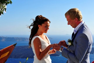Valeria's and Evgeniy's wedding ceremony on Santorini