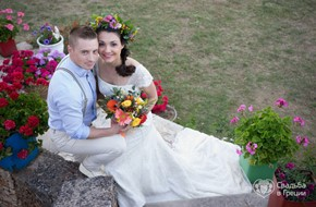 Rustic wedding ceremony of Ekaterina and Aleksey