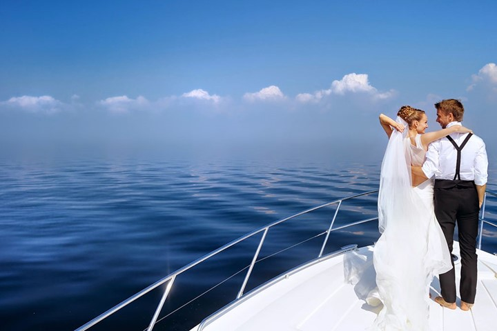 A wedding on a yacht on the island of Santorini, Santorini