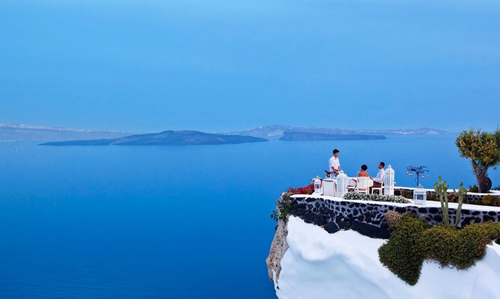 A wedding ceremony at Andronis Luxury Suites