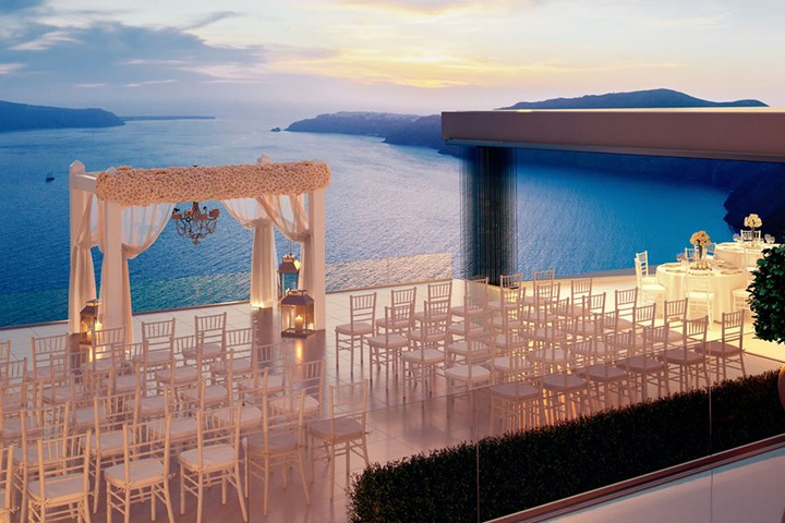 A wedding ceremony in Le ciel, Santorini