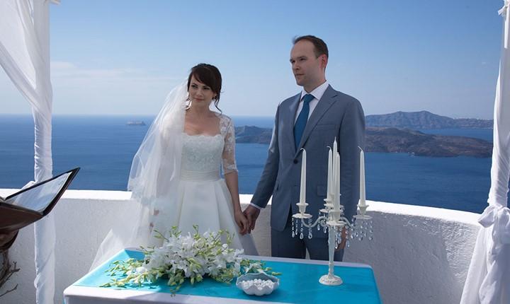 A wedding ceremony in the Villa Irini