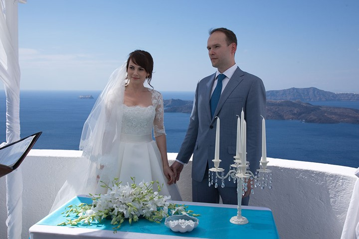 A wedding ceremony in the Villa Irini, Santorini