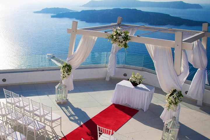 A wedding ceremony in SantoWines winery, Santorini