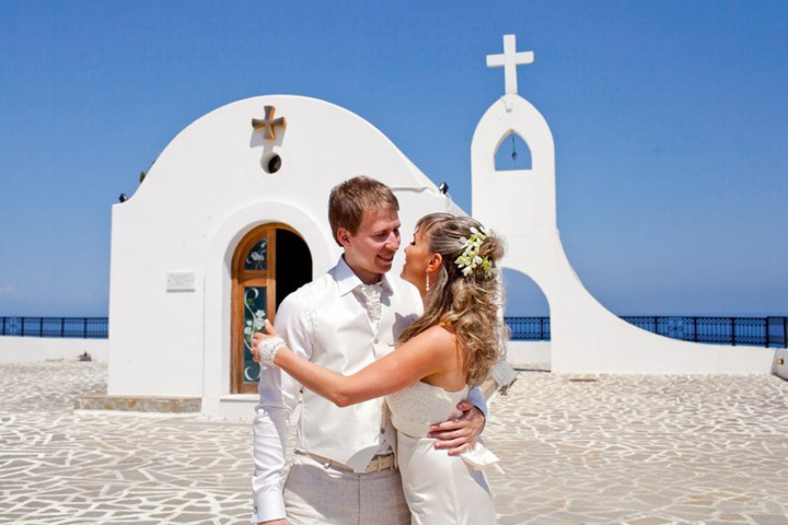 A civil wedding in the church of Agia Sophia, Rodos