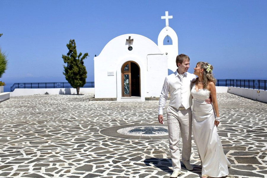 A civil wedding in the church of Agia Sophia