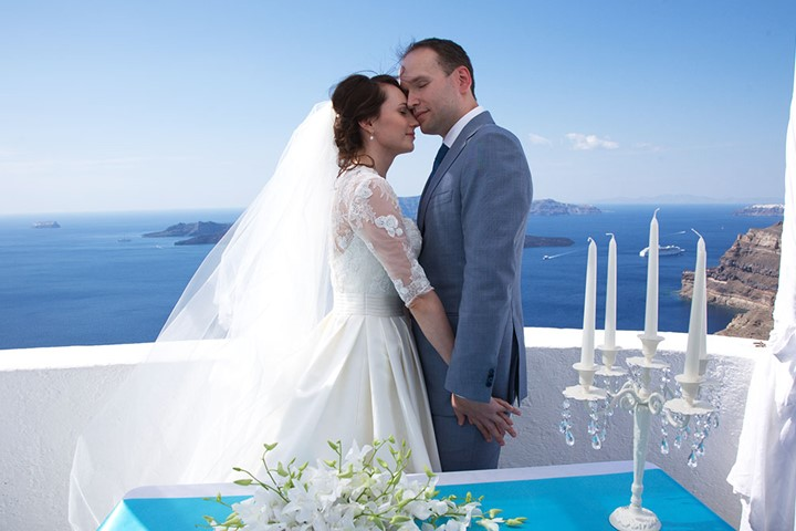 A civil ceremony in the Villa Irini, Santorini