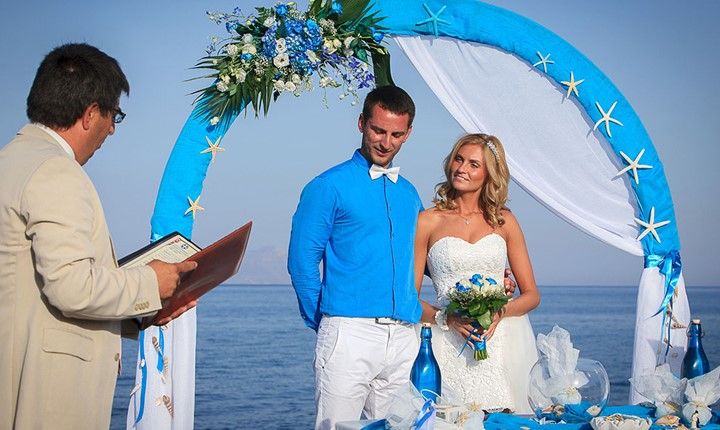 Официальное бракосочетание на Санторини