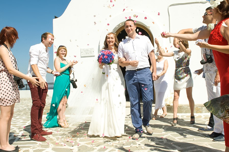 A church wedding in one of the temples on Rhodes