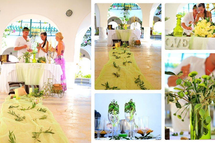 A wedding ceremony in a villa on Corfu