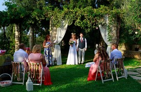 Ilgiz's and Anastasia's symbolic wedding in rustic style in a winery