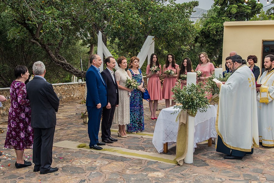 A wedding ceremony in a villa on Crete